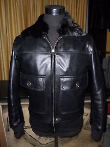 super popular 6eae8 67375 Details about Jacket Coat Vest in Leather Man Neck Real Fur- show original  title