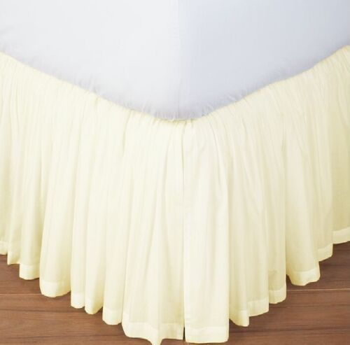 Ruffle Bed Skirt Split Corner 800 TC Solid Ivory Cotton All Size Drop Length