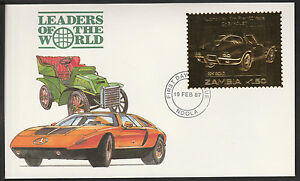 Zambia (390) 1987 Classic Cars - CHEVROLET in 22k gold foil on First day Cover