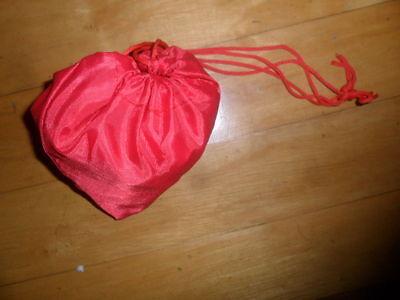 faltbarer Einkaufsbeutel, als Herz in rot ,zusammen faltbar,Beuteltasche