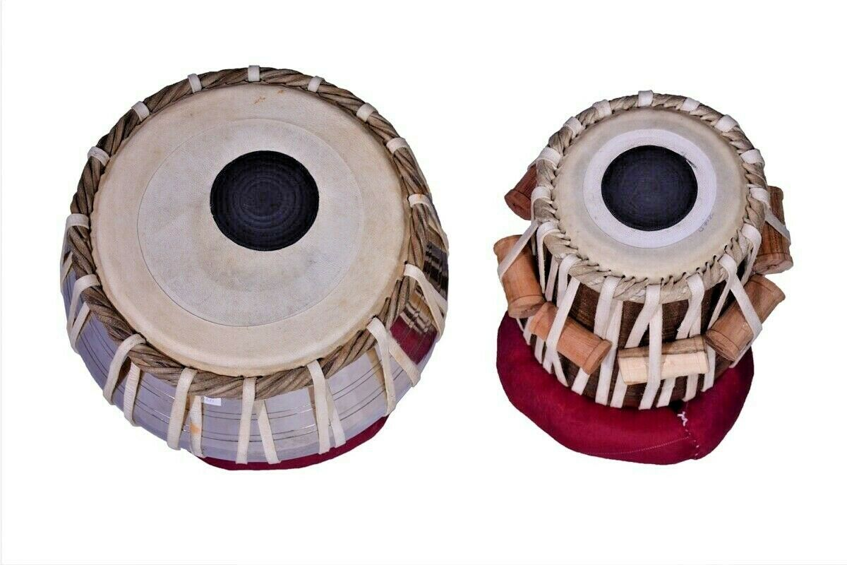 Hochwertig Holz Dayan Indisch Musikinstrument Eisen Tabla Set Verchromt
