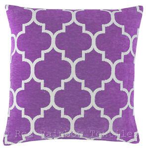Purple-amp-White-17-inch-Luxury-Chenille-Moroccan-Design-Geometric-Cushion-Cover