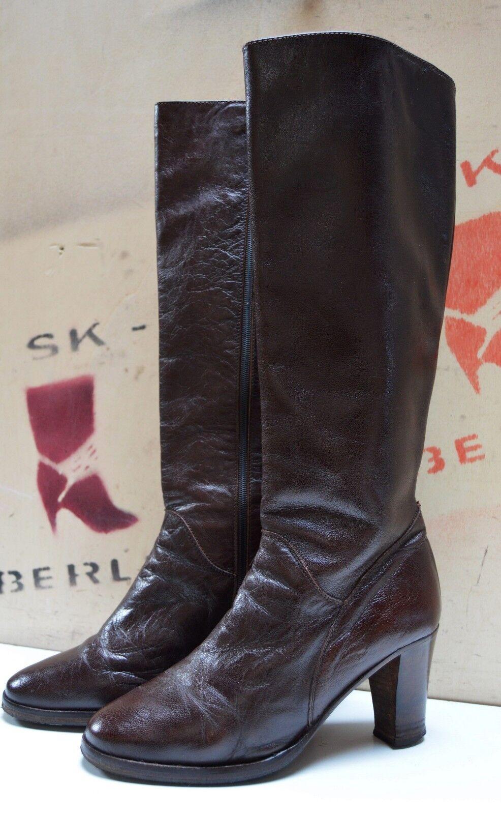 Señora botas made Italy 80er True vintage 80´s botas Stivali bloque heel marrón