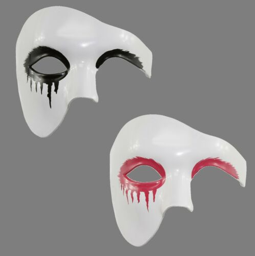 White Phantom of the Opera Gothic Punk Crow Costume Mask Eyeliner Unisex Drip