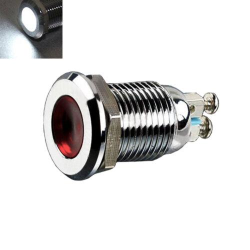 12mm DC 24V Metal White Indicator Light Signal Lamp Thread Mounted
