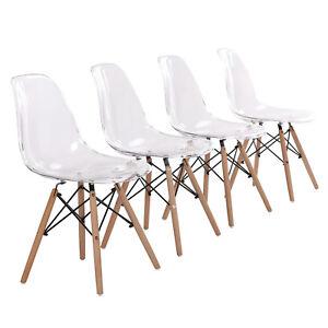 Dettagli su 4x Trasparente Sedia poltrona in plastica con gambe legno  arredo design casa