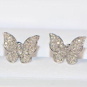 Diamant-Ohrstecker-0-78-ct-750er-Weissgold-18K-Ohrringe-Schmetterling-Butterfly