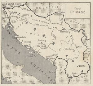 Cartina Jugoslavia.C3456 La Jugoslavia Mappa D Epoca 1935 Vintage Map Ebay