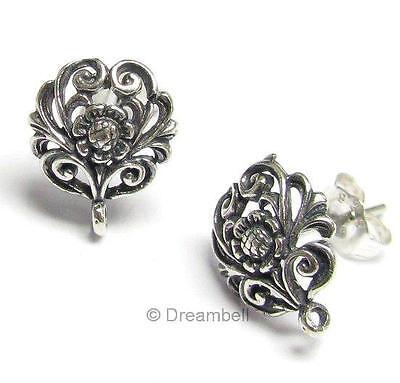 10 Bali STERLING SILVER FLOWER Stud earrings loop post se536b