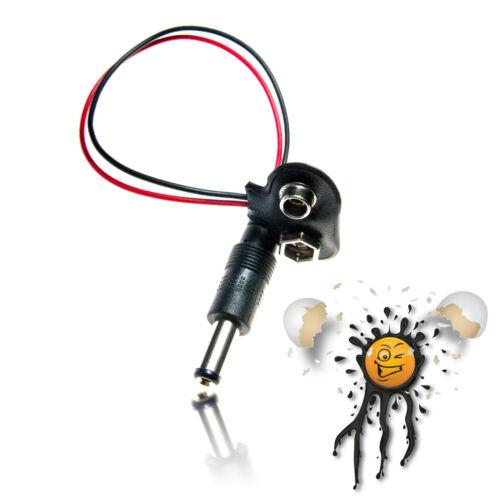 9V Batterie Battery Snap on Clip 5.5x2.1 mm Hohlstecker 100mm ESP8266 Arduino