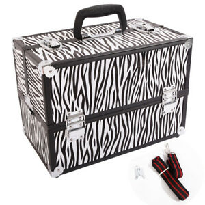 Large-14-034-x10-034-x9-034-Train-Case-Cosmetic-Jewelry-Organizer-Makeup-Storage-Box-Zebra