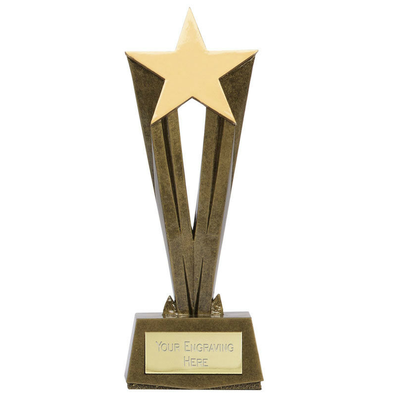 'Cherish' Star Trophy Award Free Personalised Metallic Label 4 Sizes Available