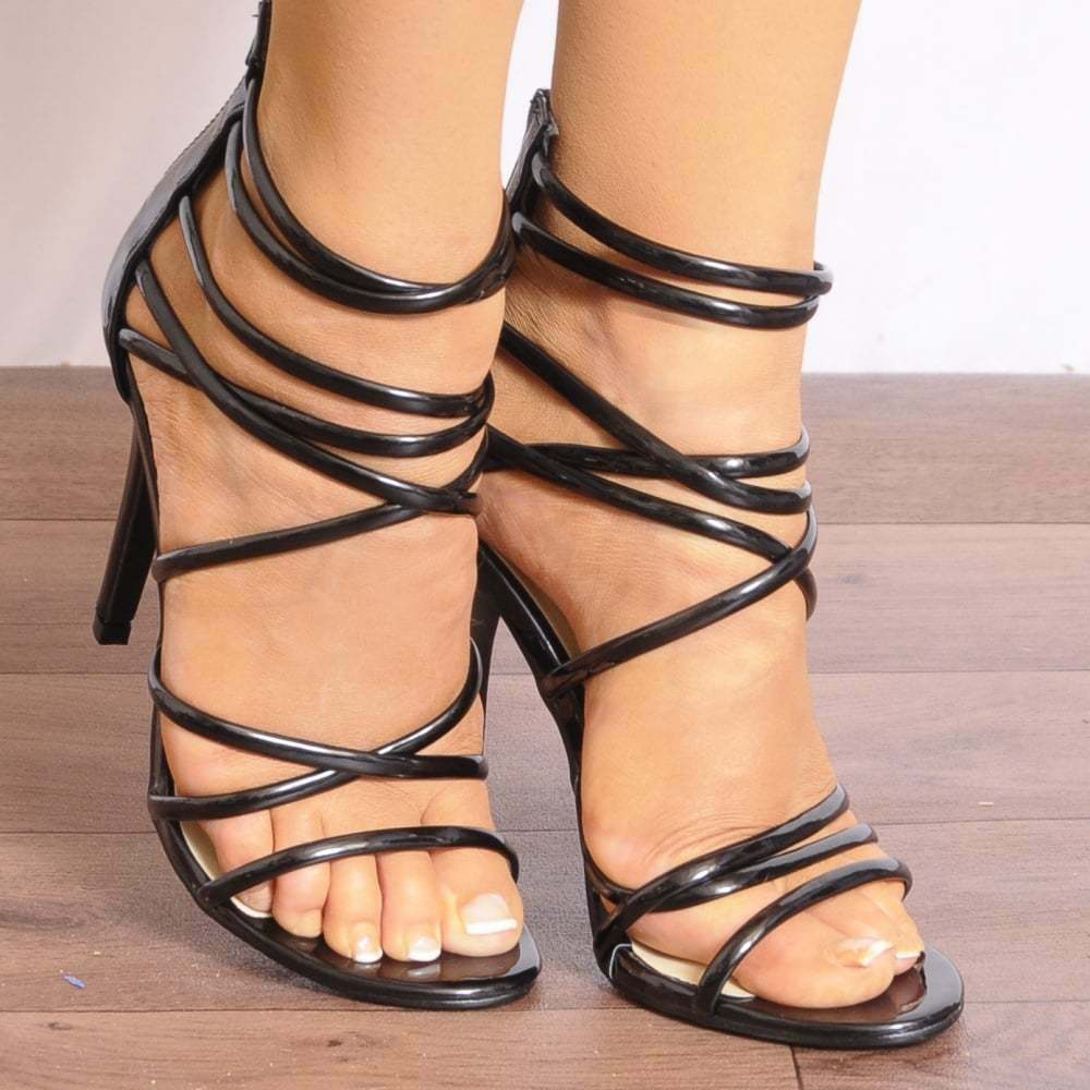 NUDE PATENT KNOTTED STRAPPY SANDALS HIGH HEELS PEEP TOES STILETTOS SHOES SIZE