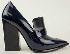 CELINE Navy Blue Spazz Black Calf Pointed Toe Heels Shoes EU 38.5 US 8 $890
