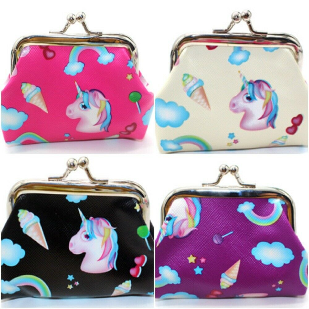 Multi Color Cute Unicorn Print Girls Women Coin Change Purse Wallet New Rainbow