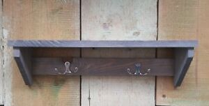 Wandregal-mit-Haken-Holz-Handtuchhalter-Garten-Regal-Ablage-Werkzeug-shabby-39cm