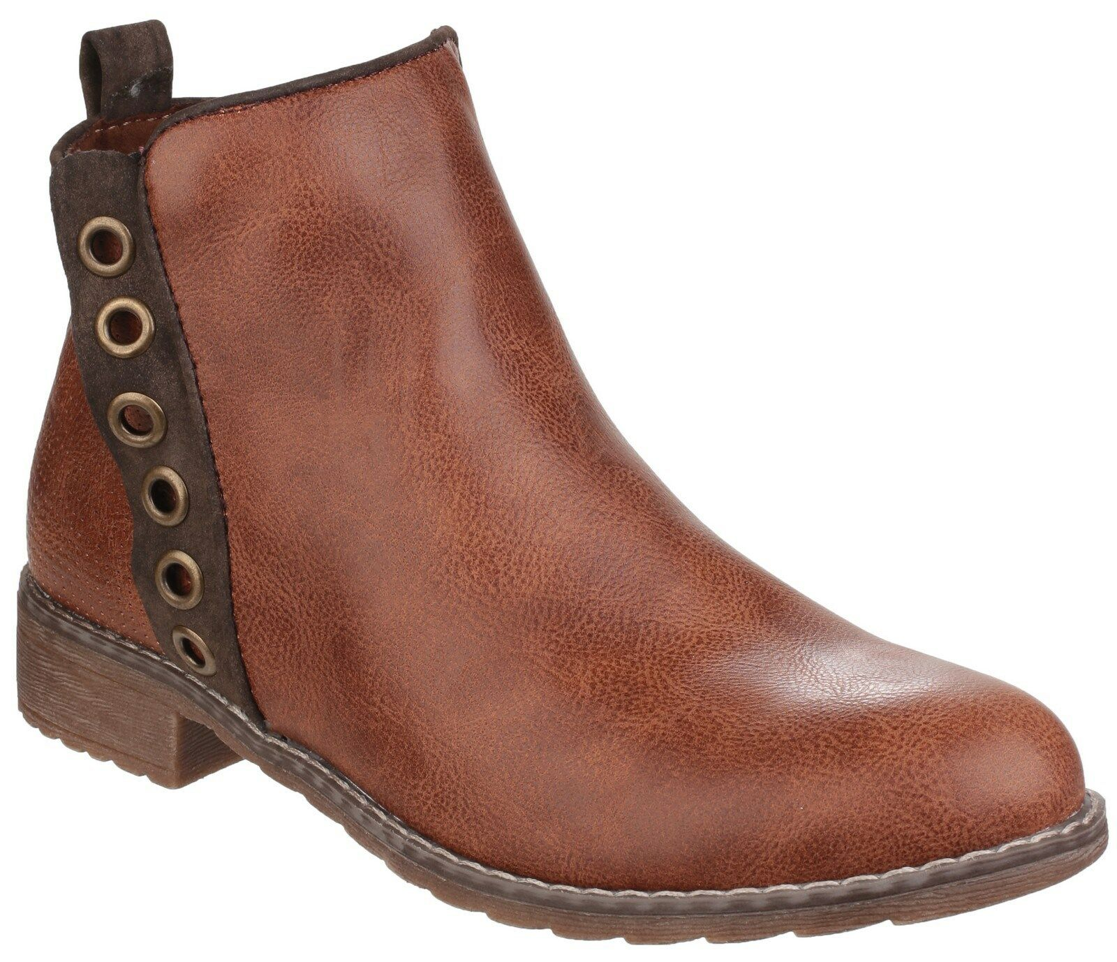 Divaz Demi Ankle Slip On Zip Donna Tan Heel Fashion Zip On Up Boots Shoes UK3-8 50e3b8