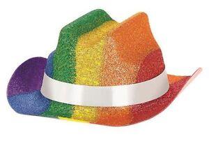 53cae1b15d8b7 Pride Rainbow Glitter Mini Cowboy Hat x 3 Festival Parade Party ...