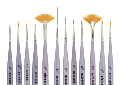 Creative Mark Micro Mini Detail Paint Brush 12 Piece Set Fine Point Short Handle