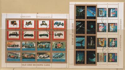 Adschman 1973 Minr. 2765-2780; 2789-2796 + 2677-2684 2 Blöcke, Gestempelt Ajman Clear-Cut-Textur