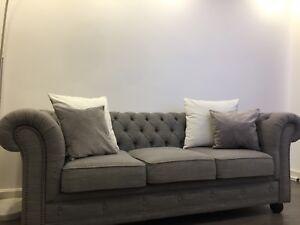 Chesterfield Sofa Graustoff 3 Sitzer Zu Verkaufen Ebay