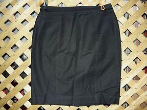 Ann-Taylor-Black-Stretch-Cotton-Knee-Length-Pencil-Skirt-Size-8-NEW