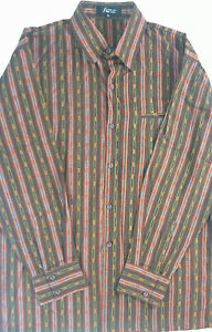Step-One-Long-Sleeve-Dress-Shirt-Mens-XL-Colorful-Brown-Teal-Orange-Busy-Club