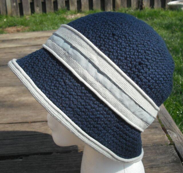 Classic Midnight Blue Crocheted Cotton Cloche - Handmade by Michaela