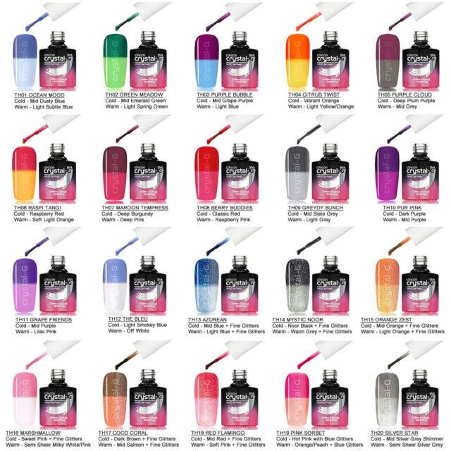 UK CRYSTAL-G Color Change Thermal UV LED Soak Off COLORS GEL NAIL POLISH Top AAA