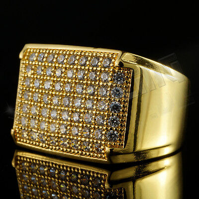 18K Gold Iced Out Hip Hop Wedding Engagement Bling MICROPAVE CZ Pinky Mens Ring