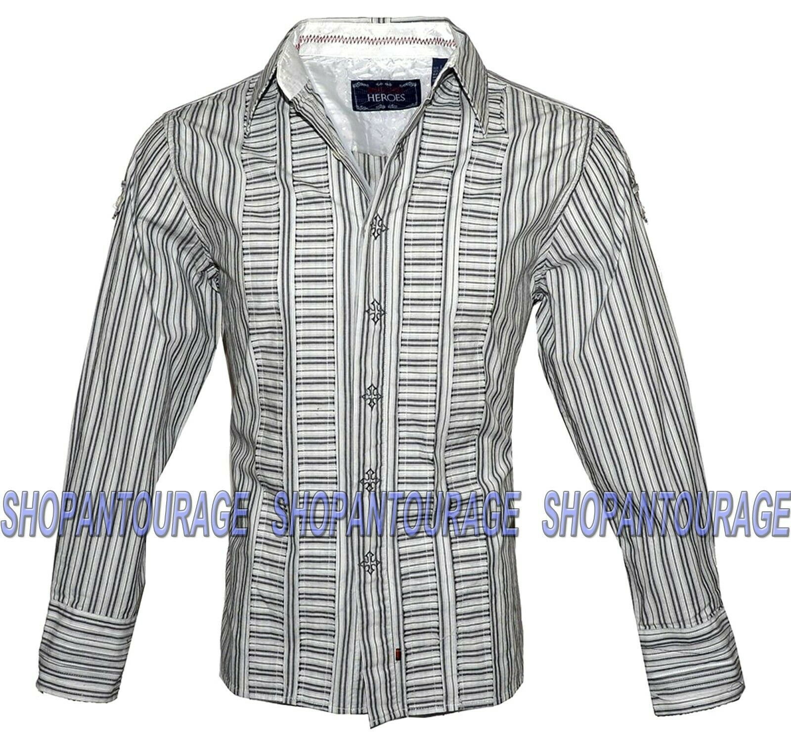 English Heroes EHW117W Long Sleeve Button Down White Striped Woven Shirt for Men