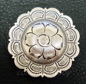 """Antique Silver Round Floral Western Concho 1 1//2/"""""""