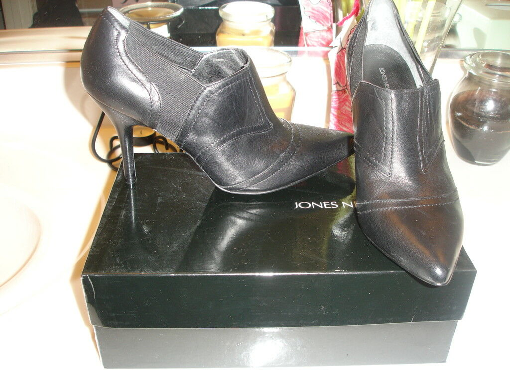 Jones New New New York Black Leather NJNAYOIE shoe boot   99 Holiday Wedding Prom 9.5 7add78
