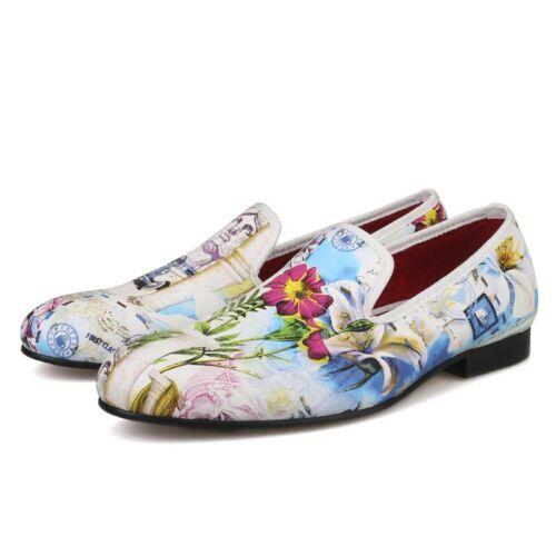 rond hommes décontractées bout avec en Mocassins Slip soirée floral pour cuir de Chaussures Robe wqnC0R