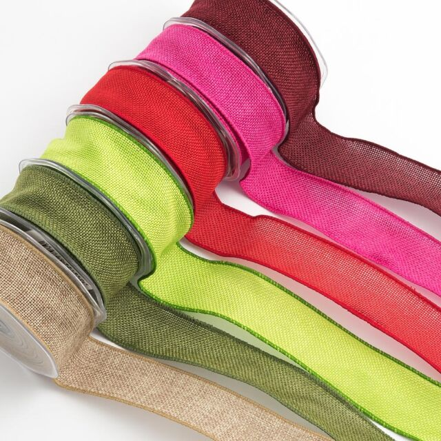 38MM COUNTRY HESSIAN WIRE EDGE RIBBON 10 METRE REEL - VARIOUS COLOURS