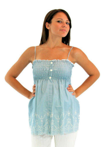 Vintage Floral Blue Cream Maternity Top Embroidery Sleeveless Victorian