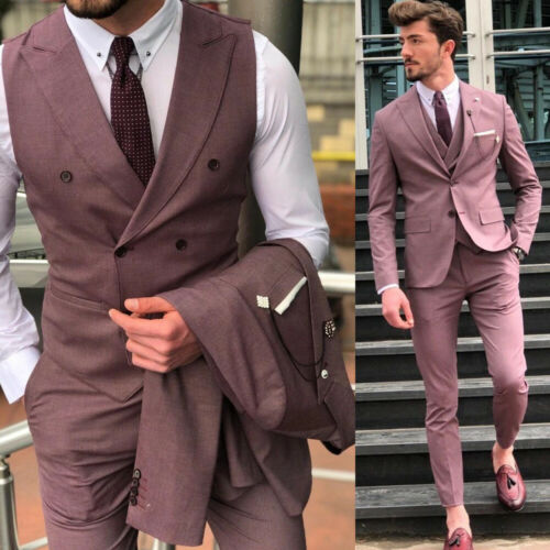 Pink Peak Lapel Men/'s Suit Wedding Business Party Prom Dinner Evening Formal 3PC