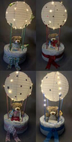 Windeltorte Geschenk Geburt Junge Mädchen unisex Taufe Ballon beleuchtet mit LED