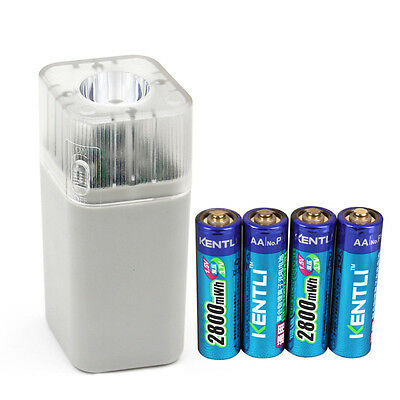 4pc 1.5v 2800mWh rechargeable Lithium AA battery + 4 PORTS Charger w/ flashlight