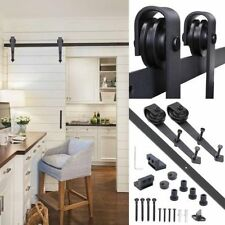 6 FT Black Modern Antique Style Sliding Barn Wood Door Hardware Closet Set Kit M