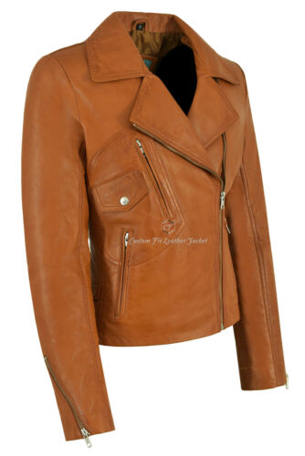Style Motorcycle Soft Jacket Napa 2588 Tan Brando Ladies Leather Biker Italian 76Yfgby