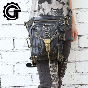 Steampunk-Bag-Steam-Punk-Retro-Rock-Gothic-Shoulder-Waist-Bags-PU-Leather