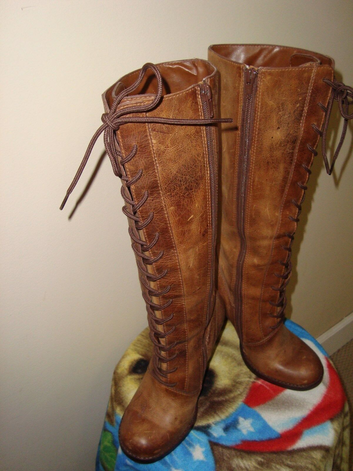 Steve Madden Boots Clapton Womens Brown Distressed Calf High Boots Madden Size 7.5 M 4abeab