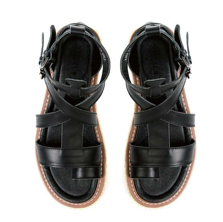 b0733e077352 Mens Leather Belt Buckle Gladiator Roman flip flops flops flops Casual  Summer Sandals Shoes c33395