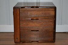Antique Tiger Oak Dovetailed Three Drawer Desktop Flat File