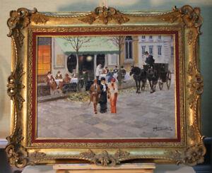 Francesco Tammaro (* 1939) Naples Oil Paintings Al Café Impressionism
