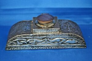 Antique Vintage Pewter Metal & Solid Glass Inkwell Stand Desk Tidy Plinth