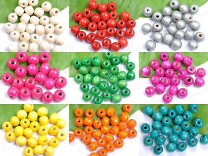 Al-por-mayor-10colour-madera-redondo-perdida-cuentas-Joyeria-6MM-8MM-10MM-12MM