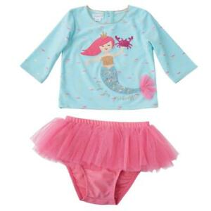 22ce46a201067 Mud Pie Mermaid Collection 2 Pc Rash Guard Swimsuit Girls Baby