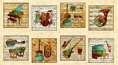"Music Guitar Keyboard String Instrument Blocks Cotton Fabric QT Encore 24/"" Panel"